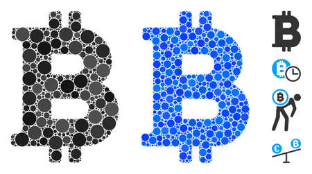 Bitcoin mosaic of circle elements in different sizes and shades, based on Bitcoin icon. Vector circle elements are combined into blue collage. Dotted Bitcoin icon in usual and blue versions. Иллюстрация