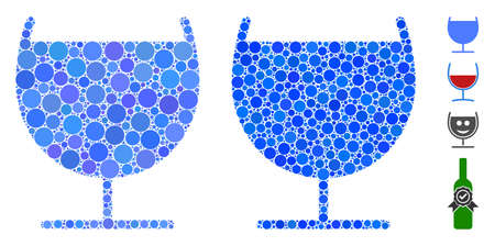 Alcohol glass composition of small circles in variable sizes and shades, based on alcohol glass icon. Vector small circles are combined into blue illustration.