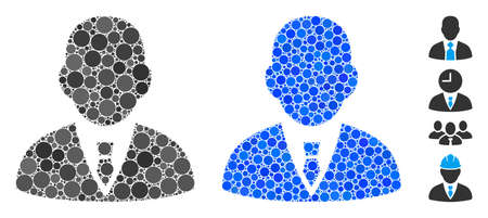 Boss mosaic of filled circles in different sizes and color hues, based on boss icon. Vector filled circles are organized into blue collage. Dotted boss icon in usual and blue versions.