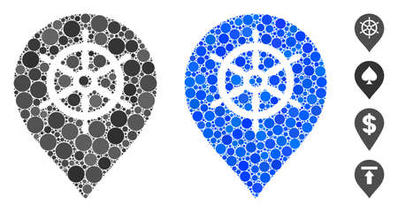 Ship wheel marker mosaic of small circles in various sizes and color tinges, based on ship wheel marker icon. Vector small circles are organized into blue illustration.