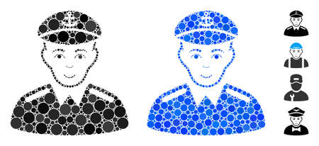 Captain mosaic of filled circles in variable sizes and shades, based on captain icon. Vector filled circles are grouped into blue mosaic. Dotted captain icon in usual and blue versions. Çizim