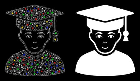 Flare mesh professor icon with sparkle effect. Abstract illuminated model of professor. Shiny wire frame polygonal mesh professor icon. Vector abstraction on a black background.
