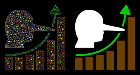 Glowing mesh liar hyip chart icon with glitter effect. Abstract illuminated model of liar hyip chart. Shiny wire carcass polygonal network liar hyip chart icon. Illustration