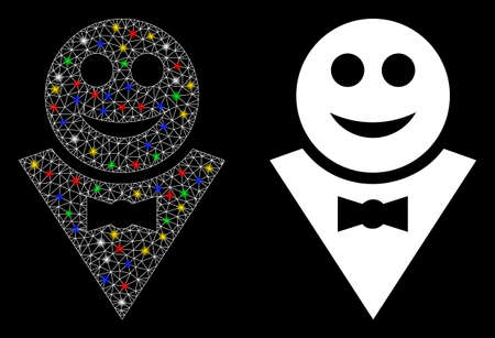 Bright mesh happy waiter icon with glitter effect. Abstract illuminated model of happy waiter. Shiny wire carcass polygonal mesh happy waiter icon. Vector abstraction on a black background. Фото со стока - 136277794