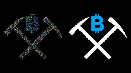 Flare mesh Bitcoin mining hammers icon with glow effect. Abstract illuminated model of Bitcoin mining hammers. Shiny wire carcass triangular mesh Bitcoin mining hammers icon.