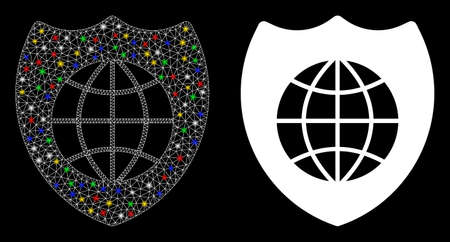 Glowing mesh global shield icon with glitter effect. Abstract illuminated model of global shield. Shiny wire carcass polygonal mesh global shield icon. Vector abstraction on a black background.