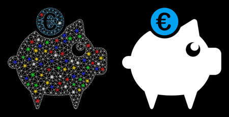Bright mesh Euro piggy bank icon with glare effect. Abstract illuminated model of Euro piggy bank. Shiny wire carcass polygonal mesh Euro piggy bank icon. Vector abstraction on a black background.