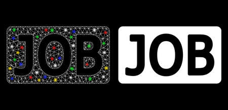 Flare mesh job caption icon with glow effect. Abstract illuminated model of job caption. Shiny wire carcass polygonal mesh job caption icon. Vector abstraction on a black background.