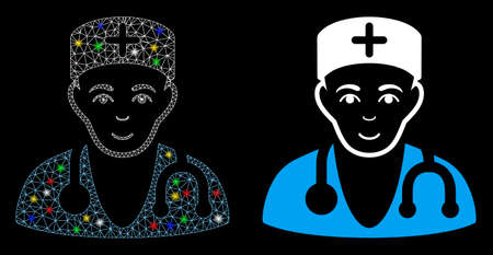 Glossy mesh physician icon with sparkle effect. Abstract illuminated model of physician. Shiny wire carcass triangular mesh physician icon. Vector abstraction on a black background. Vector Illustration