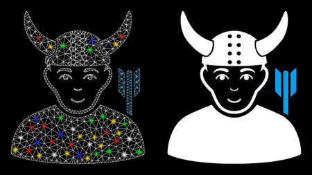 Glowing mesh horned warrior icon with glitter effect. Abstract illuminated model of horned warrior. Shiny wire carcass polygonal mesh horned warrior icon. Vector abstraction on a black background.