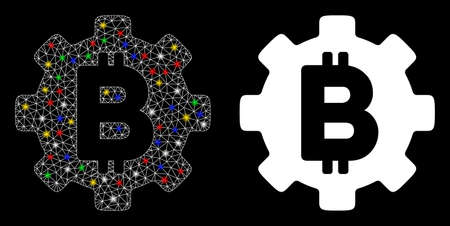 Glossy mesh Bitcoin development gear icon with glare effect. Abstract illuminated model of Bitcoin development gear. Shiny wire carcass polygonal mesh Bitcoin development gear icon.