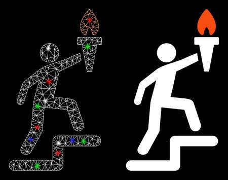 Glowing mesh climbing leader with torch icon with lightspot effect. Abstract illuminated model of climbing leader with torch. Shiny wire carcass polygonal mesh climbing leader with torch icon.