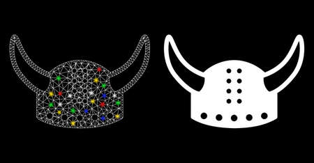 Glowing mesh horned helmet icon with sparkle effect. Abstract illuminated model of horned helmet. Shiny wire carcass triangular mesh horned helmet icon. Vector abstraction on a black background.