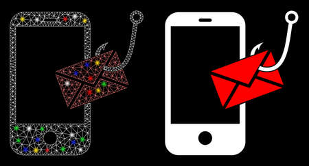 Flare mesh smartphone message phishing icon with glitter effect. Abstract illuminated model of smartphone message phishing. Shiny wire frame polygonal mesh smartphone message phishing icon.