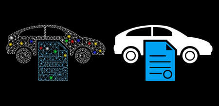 Glühendes Autoverkaufsvertragssymbol aus Netzgewebe mit Blendeffekt. Abstraktes beleuchtetes Modell des Autokaufvertrags. Glänzendes Drahtkadaver polygonales Netzwerk-Autoverkaufsvertragssymbol.