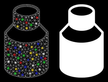 Flare mesh phial icon with sparkle effect. Abstract illuminated model of phial. Shiny wire carcass polygonal mesh phial icon. Vector abstraction on a black background.