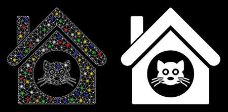 Glossy mesh cat house icon with glow effect. Abstract illuminated model of cat house. Shiny wire carcass triangular mesh cat house icon. Vector abstraction on a black background.