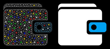 Glossy mesh wallet icon with glitter effect. Abstract illuminated model of wallet. Shiny wire frame triangular mesh wallet icon. Vector abstraction on a black background.