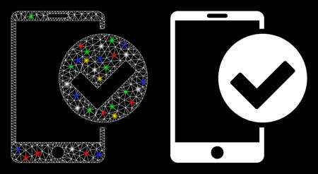 Glowing mesh phone OK icon with sparkle effect. Abstract illuminated model of phone OK. Shiny wire carcass polygonal network phone OK icon. Vector abstraction on a black background.