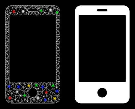 Flare mesh smartphone icon with sparkle effect. Abstract illuminated model of smartphone. Shiny wire carcass triangular network smartphone icon. Vector abstraction on a black background.