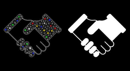 Glossy mesh agreement icon with glow effect. Abstract illuminated model of agreement. Shiny wire frame triangular mesh agreement icon. Vector abstraction on a black background.