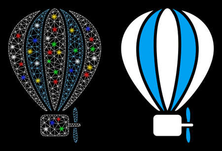Flare mesh aerostat balloon icon with glare effect. Abstract illuminated model of aerostat balloon. Shiny wire carcass triangular network aerostat balloon icon. Ilustração Vetorial