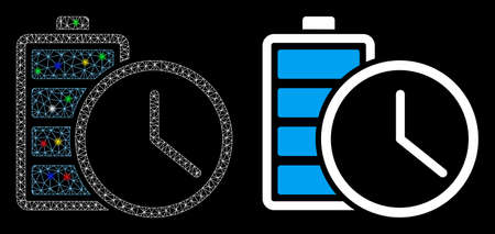 Glossy mesh battery time icon with glow effect. Abstract illuminated model of battery time. Shiny wire carcass triangular mesh battery time icon. Vector abstraction on a black background.  イラスト・ベクター素材