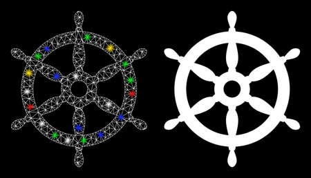 Glowing mesh ship wheel icon with lightspot effect. Abstract illuminated model of ship wheel. Shiny wire carcass triangular mesh ship wheel icon. Vector abstraction on a black background. Çizim