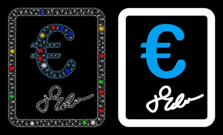 Glossy mesh Euro signed contract icon with glow effect. Abstract illuminated model of Euro signed contract. Shiny wire carcass triangular mesh Euro signed contract icon.