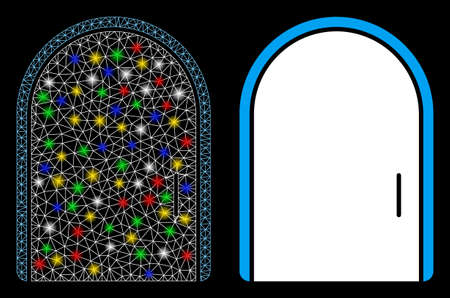 Flare mesh door icon with glitter effect. Abstract illuminated model of door. Shiny wire carcass polygonal network door icon. Vector abstraction on a black background.