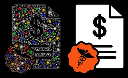 Glossy mesh medical prices icon with glow effect. Abstract illuminated model of medical prices. Shiny wire frame polygonal network medical prices icon. Vector abstraction on a black background.