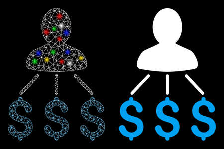Flare mesh person expenses icon with sparkle effect. Abstract illuminated model of person expenses. Shiny wire carcass triangular network person expenses icon. Çizim