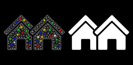 Glowing mesh houses icon with glare effect. Abstract illuminated model of houses. Shiny wire frame polygonal mesh houses icon. Vector abstraction on a black background.