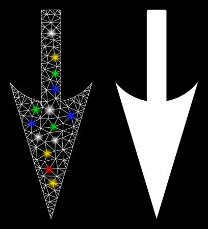 Glossy mesh sharp down arrow icon with sparkle effect. Abstract illuminated model of sharp down arrow. Shiny wire frame polygonal mesh sharp down arrow icon. Vector abstraction on a black background.
