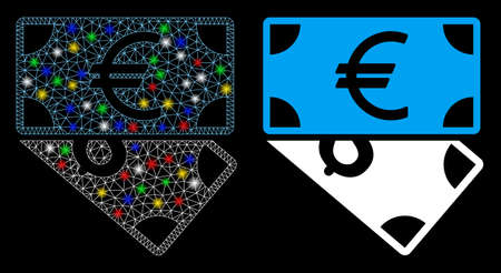 Glowing mesh Euro and Dollar banknotes icon with glitter effect. Abstract illuminated model of Euro and Dollar banknotes. Shiny wire carcass triangular mesh Euro and Dollar banknotes icon.