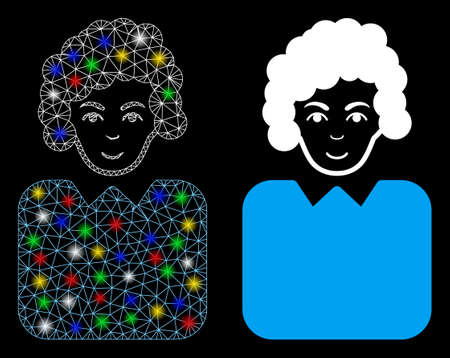 Bright mesh bureaucrat lady icon with sparkle effect. Abstract illuminated model of bureaucrat lady. Shiny wire frame triangular mesh bureaucrat lady icon. Vector abstraction on a black background.