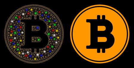 Glowing mesh Bitcoin coin icon with sparkle effect. Abstract illuminated model of Bitcoin coin. Shiny wire carcass polygonal mesh Bitcoin coin icon. Vector abstraction on a black background.