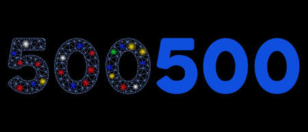 Glowing mesh 500 digits text icon with glitter effect. Abstract illuminated model of 500 digits text. Shiny wire frame triangular mesh 500 digits text icon. Vector abstraction on a black background.