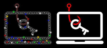 Flare mesh laptop key phishing icon with lightspot effect. Abstract illuminated model of laptop key phishing. Shiny wire carcass polygonal mesh laptop key phishing icon. Illustration