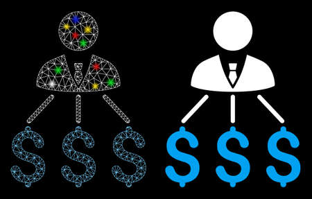 Bright mesh businessman expenses icon with glitter effect. Abstract illuminated model of businessman expenses. Shiny wire carcass polygonal mesh businessman expenses icon.