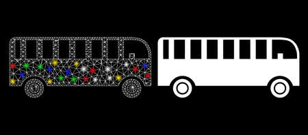 Glossy mesh bus icon with lightspot effect. Abstract illuminated model of bus. Shiny wire carcass polygonal mesh bus icon. Vector abstraction on a black background.