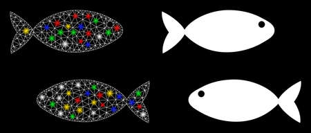 Glossy mesh fish pair icon with glare effect. Abstract illuminated model of fish pair. Shiny wire carcass polygonal mesh fish pair icon. Vector abstraction on a black background.