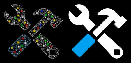 Glowing mesh hammer and wrench icon with glitter effect. Abstract illuminated model of hammer and wrench. Shiny wire carcass triangular mesh hammer and wrench icon.