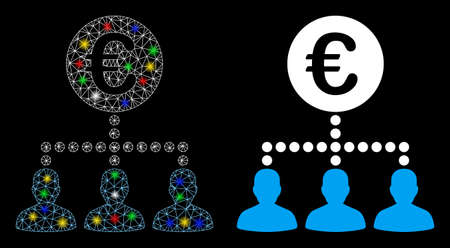 Glossy mesh Euro payment clients icon with sparkle effect. Abstract illuminated model of Euro payment clients. Shiny wire carcass triangular mesh Euro payment clients icon. Vektorové ilustrace
