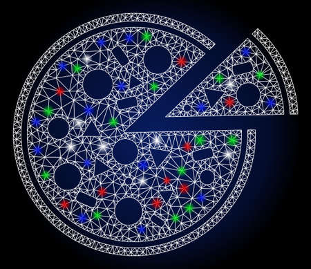 Glowing white mesh pizza with glitter effect. Abstract illuminated model of pizza. Shiny wire carcass triangular mesh pizza icon. Vector abstraction on a dark blue gradient background.