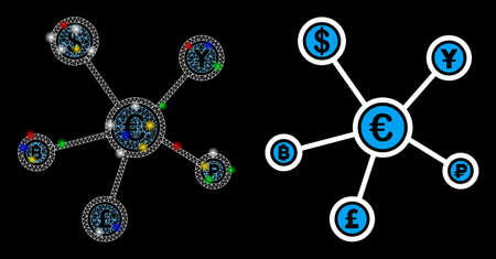 Glowing mesh financial network icon with lightspot effect. Abstract illuminated model of financial network. Shiny wire carcass triangular network financial network icon.