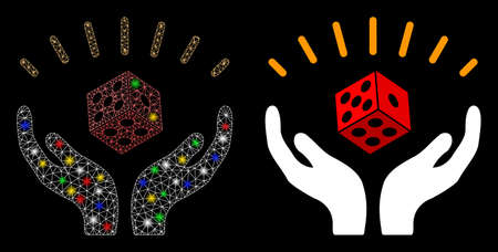 Bright mesh dice win hands icon with glare effect. Abstract illuminated model of dice win hands. Shiny wire frame triangular mesh dice win hands icon. Vector abstraction on a black background.
