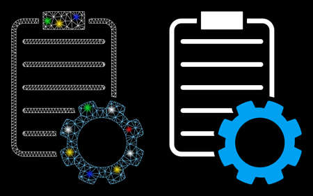 Glowing mesh smart contract gear icon with sparkle effect. Abstract illuminated model of smart contract gear. Shiny wire frame polygonal mesh smart contract gear icon. Çizim
