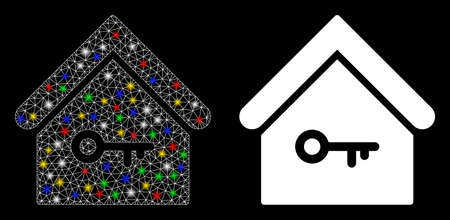 Glossy mesh home key icon with sparkle effect. Abstract illuminated model of home key. Shiny wire frame triangular mesh home key icon. Vector abstraction on a black background. Ilustração