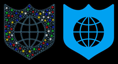 Glossy mesh global shield icon with glow effect. Abstract illuminated model of global shield. Shiny wire carcass polygonal network global shield icon. Vector abstraction on a black background.